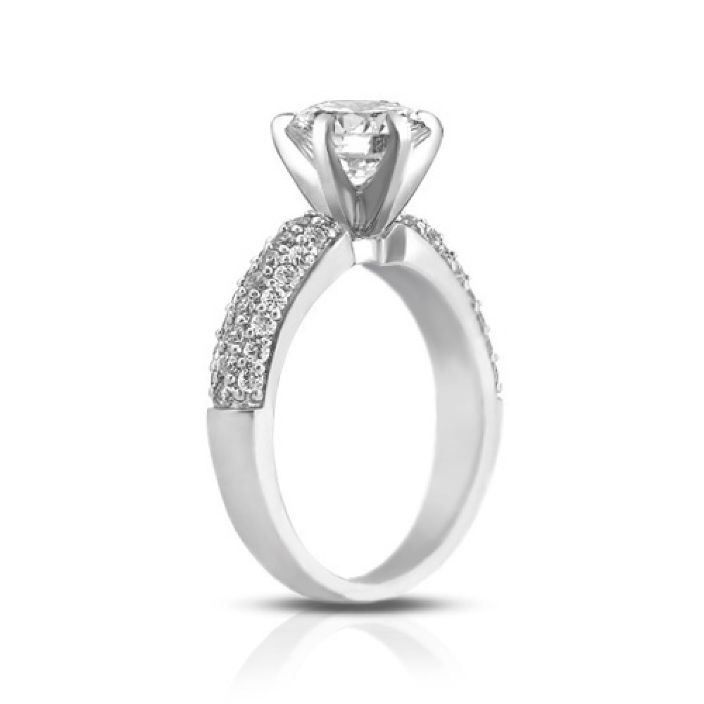 1 72 Ct Pave Set Round Cut Diamond Engagement Ring