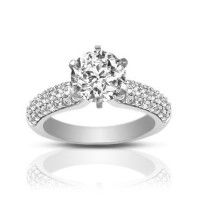 1.72 ct Pave Set Round Cut Diamond Engagement Ring
