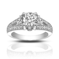 1.49 ct Vintage Style Round Cut Diamond Engagement Ring
