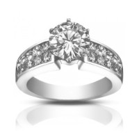 2.00 ct Ladies Two Row Round Cut Diamond Engagement Ring