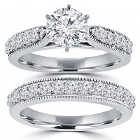 2.15 ct Round Cut Diamond Engagement Ring Set  Whit Millgrain on The Shank