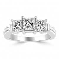 1.45 ct Ladies Three Stone Princess Cut Diamond Engagement Ring