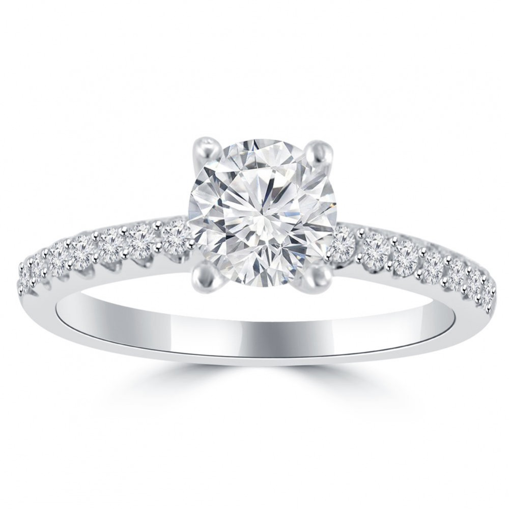 1 10 Ct Ladies Round Cut Diamond Engagement Ring In 14 Kt