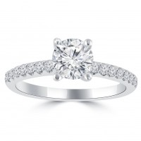 1.10 ct Ladies Round Cut Diamond Engagement Ring in 14 kt White Gold