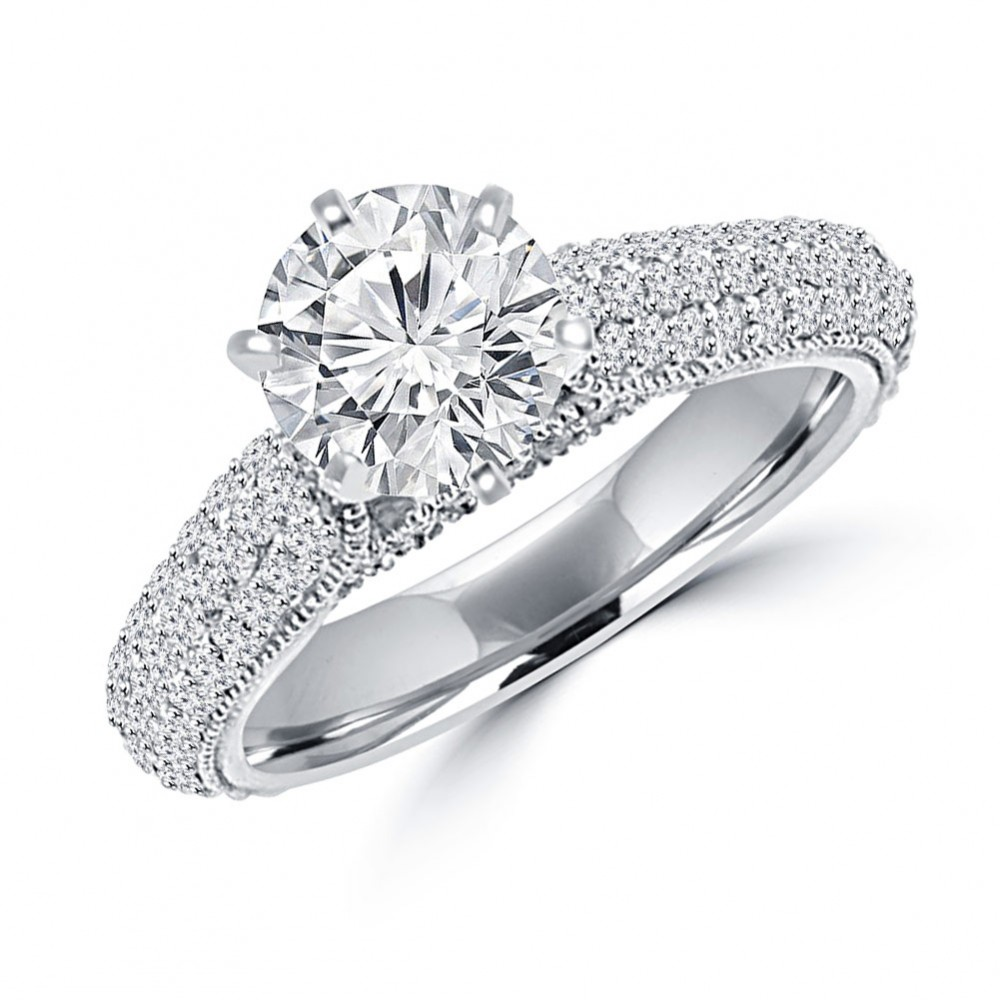 3.25 Ct Ladies Round Cut Diamond Engagement Ring Set In 14