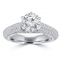 2.00 ct Ladies Round Cut Diamond Engagement Ring in 14 kt White Gold Pave Set