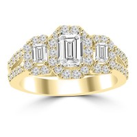1.76 ct Ladies Emerald Round and Baguette Cut Diamond Engagement Ring in 14 kt Yellow Gold