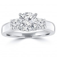 1.35ct Ladies Round Cut Diamond Engagement Ring in 14 kt White Gold