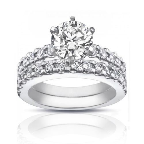 2.25 ct Ladies Round Cut Diamond Engagement Ring Set