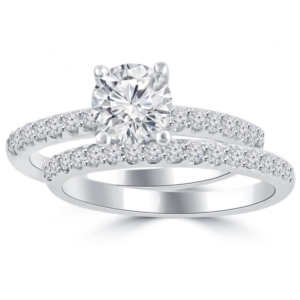 round engagement pave product cut micro diamond pav rings trio ring