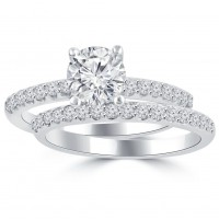 1.45 ct Ladies Round Cut Diamond Engagement Ring in 14 kt White Gold