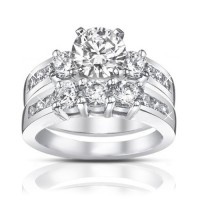 1.85ct  Ladies Round Cut Diamond Engagement Accented Ring