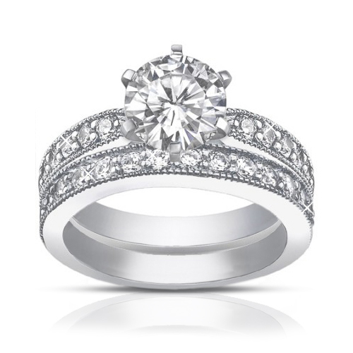2.25 ct Round Cut Diamond Engagement Ring Set Whit Millgrain on The Shank