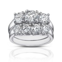 2.25 Ct Three Stone Round Diamond Engagement Ring With Wedding Band