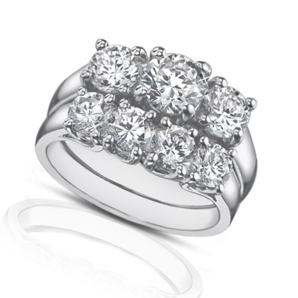 ct three stone round diamond engagement ring with wedding band