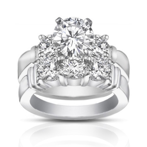 2.00 ct Women's Round Cut Diamond Engagement Ring With Wedding Band Set