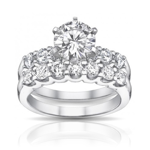 2.05 ct Round Diamond Engagement Ring With Wedding Band