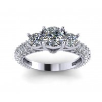 2.60 ct Ladies Round Cut Diamond Engagement Ring With Accented Diamonds