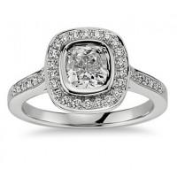 1.50 Ct Ladies Cushion Micro Pave Halo Diamond Engagement Ring
