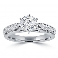 1.45 ct Round Cut Diamond Engagement Ring Whit Millgrain on The Shank