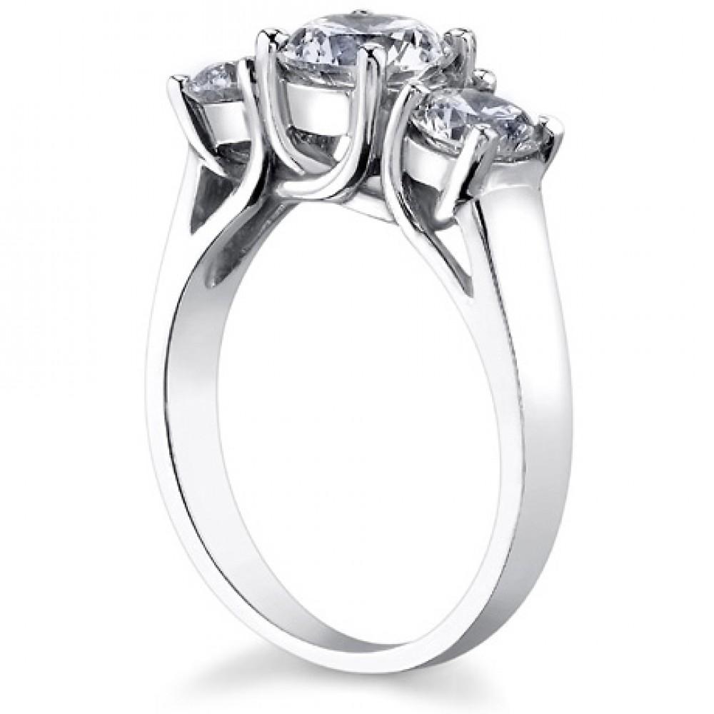 1 93 ct La s Three Stone Round Cut Diamond Engagement Ring