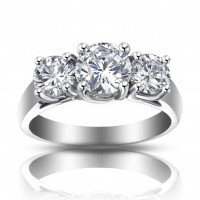 1.93 ct Ladies Three Stone Round Cut Diamond Engagement Ring