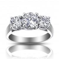 1.93 ct Ladies Three Stone Round Cut Diamond Engagement Ring
