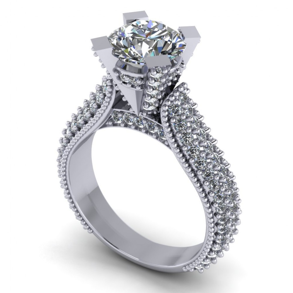 2.65 Ct Pave Set Round Cut Diamond Engagement Ring