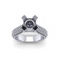 1.90 ct Ladies Round Cut Diamond Semi Mount Ring in Pave Setting