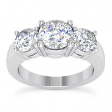 0.85 ct Ladies Three Stone Round Cut Diamond Engagement Ring