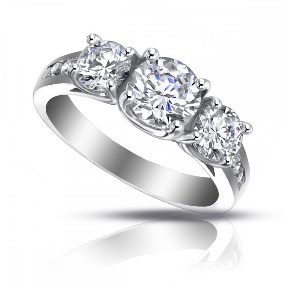 ct ladies three stone round cut diamond engagement ring. Black Bedroom Furniture Sets. Home Design Ideas