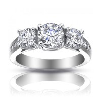 2.25 ct Ladies Three Stone Round Cut Diamond Engagement Ring
