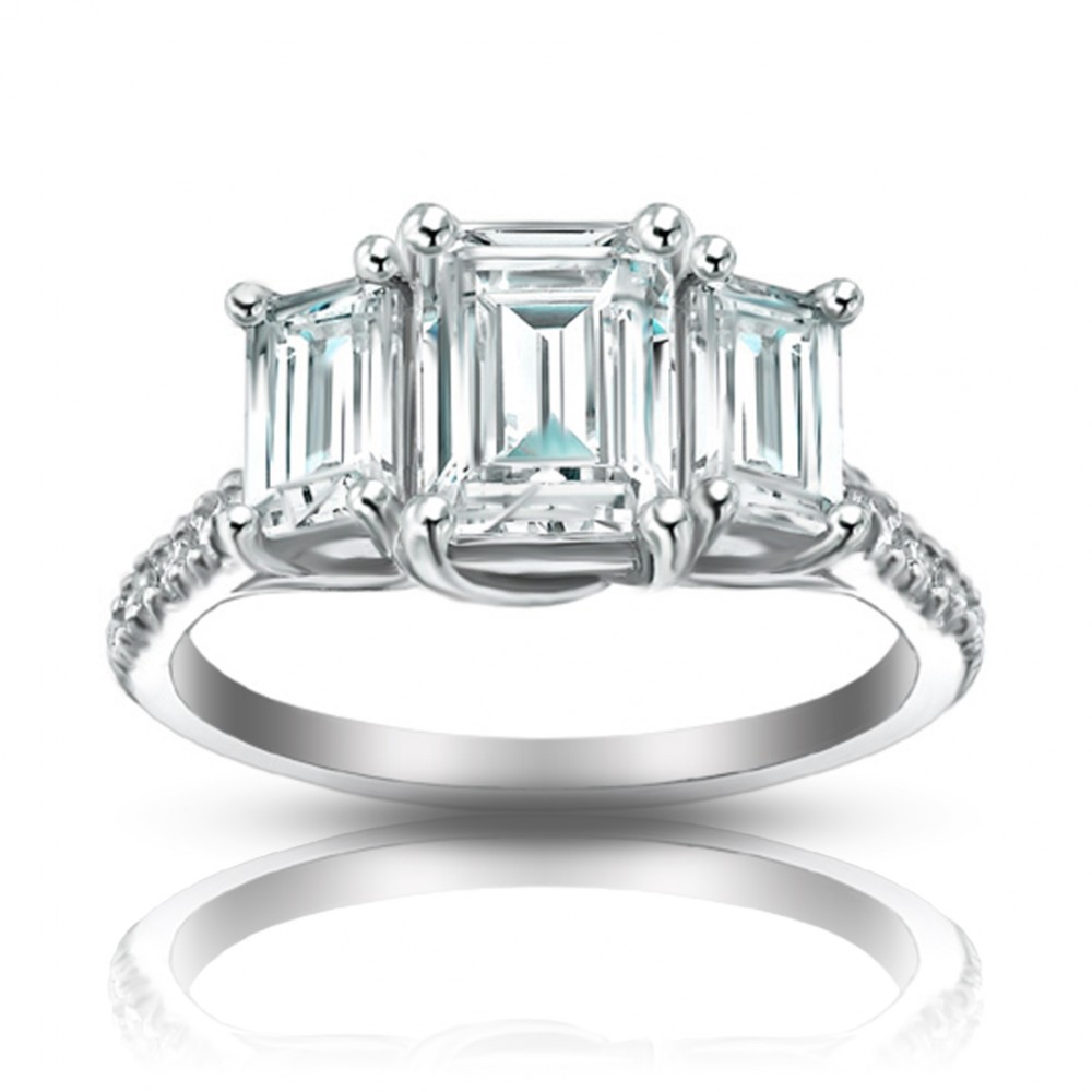 2 10 Ct Ladies Emerald Cut Diamond Engagement Ring