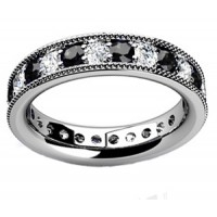 1.00 ct Millgrain Edge Diamond Eternity Wedding Band Ring