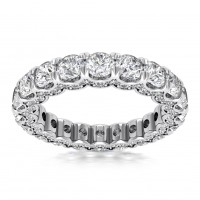 4.18 ct Ladies Round Cut Diamond Eternity Wedding Band Ring