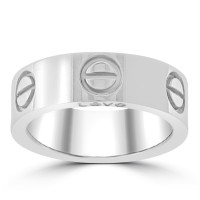 Love 18k White Gold 5.5 mm Band Size 52