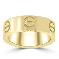 Love 18k Yellow Gold 5.5 mm Band Size 52