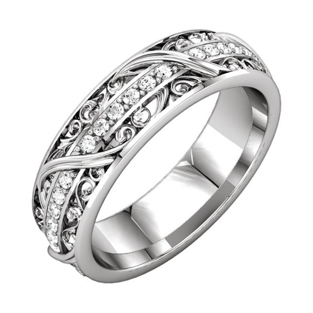 0.45 Ct Ladies Round Cut Diamond Eternity Wedding Band