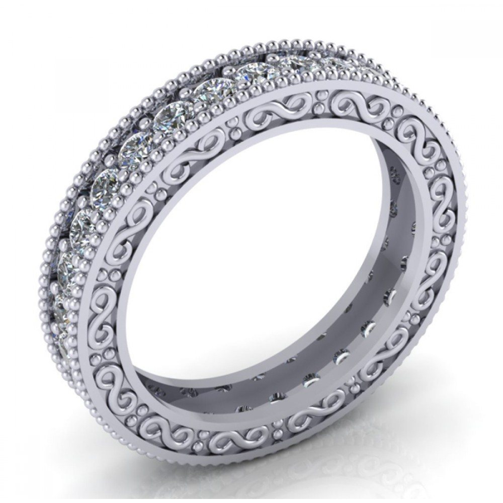 1 00 ct millgrain edge eternity wedding band ring