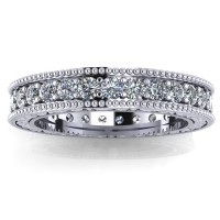 1.00 ct Millgrain Edge Diamond Eternity Wedding Band Ring With Design on The Side