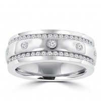 1.96 ct Men's Round Cut Diamond Eternity Wedding Band in Channel Setting