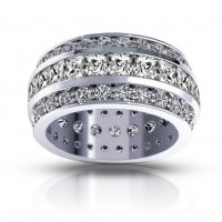 5.00 ct Ladies Three Row Princess and Round Cut Diamond Eternity Wedding Band