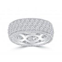 4.50 ct Ladies Three Row Round Cut Diamond Eternity Wedding Band Ring