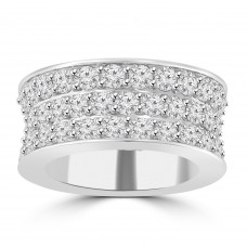 6.92 ct Three Row Round Cut Diamond Eternity Wedding Band Ring ( G Color SI-1 Clarity)