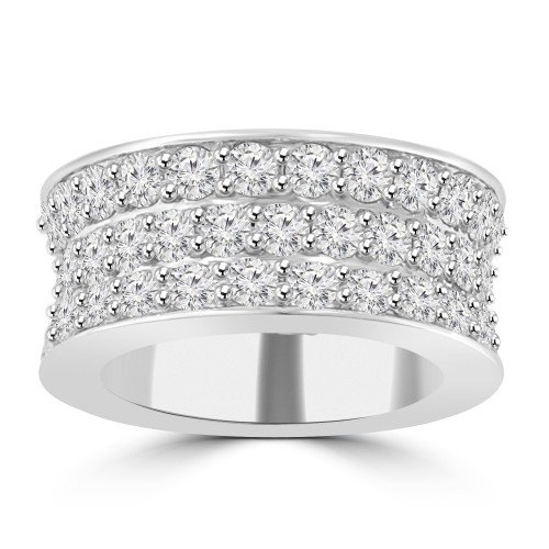 6.92 ct Three Row Round Cut Diamond Eternity Wedding Band Ring ( G Color SI-1 Clarity)