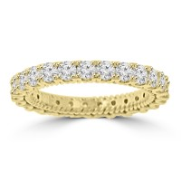 2.05 ct Ladies Round Cut Diamond Eternity Wedding Band Ring Yellow Gold
