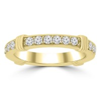 0.75 ct Ladies Round Cut Diamond Eternity Wedding Band Ring Yellow Gold
