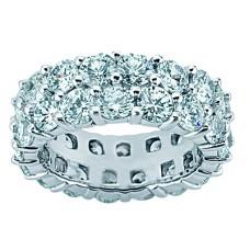 4.50 ct Two Row Diamond Eternity Wedding Band Ring