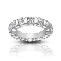 5.00 ct Ladies Round Cut Diamond Eternity Band Ring In Bar Setting