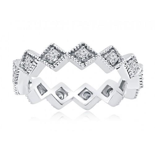 0.50 ct Four Prong Set Round Cut Diamond Eternity Wedding Band Ring